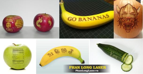 Điêu Khắc Laser nghệ thuật trên hoa quả, quả chuối, quả dừa