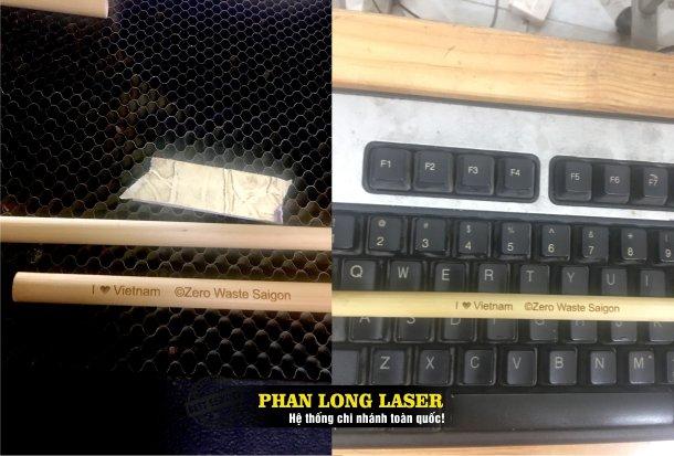 Cơ sở nhận khắc laser lên ống hút gỗ, ống hút tre nứa, ống hút inox giá rẻ