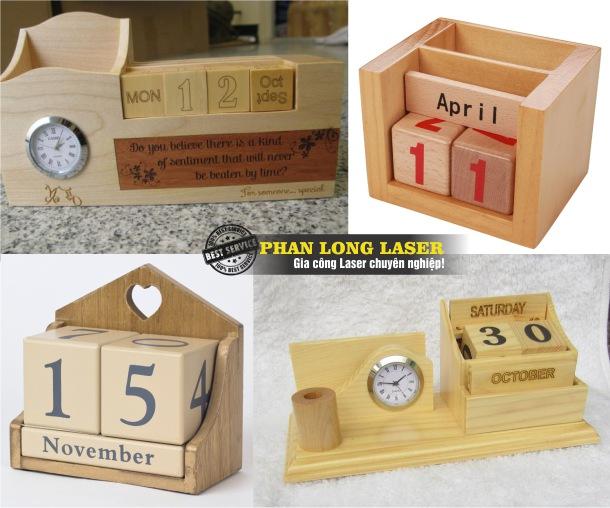 Bán sỉ, bán buôn, bán lẻ lịch gỗ để bàn, lịch gỗ treo tường khắc laser