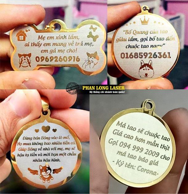 Cơ sở nhận sản xuất bán buôn bán sỉ bán lẻ các sản phẩm thẻ tên vật nuôi thú cưng pettag khắc laser giá rẻ