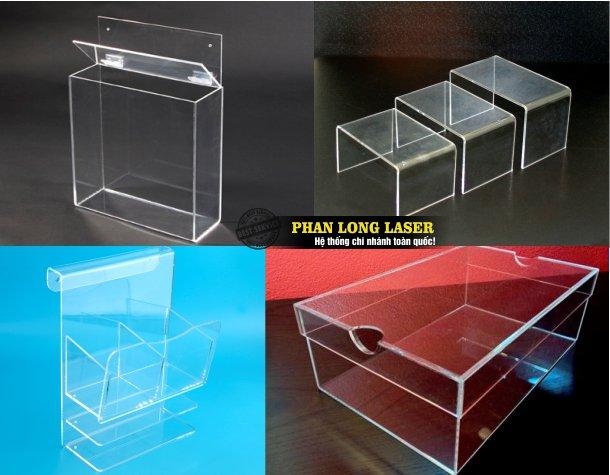 Xưởng gia công sản xuất làm hộp mica, làm kệ mica, làm hộp nhựa acrylic, làm kệ nhựa acrylic