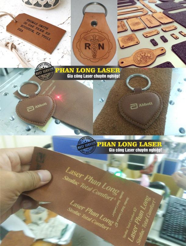 Cắt da bằng máy laser làm móc khóa theo yêu cầu giá rẻ