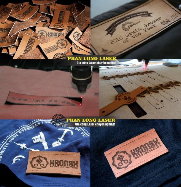 Cắt tạo hình theo yêu cầu lên trên tem nhãn mác bằng da giá rẻ