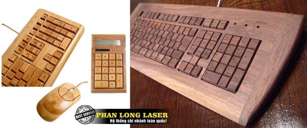 In Khắc Laser lên chuột gỗ và bàn phím gỗ