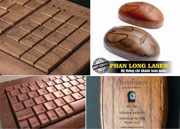 Chuột gỗ khắc tên, bàn phím gỗ khắc hoa văn logo theo yêu cầu tại Sài Gòn và Hà Nội, Đà Nẵng
