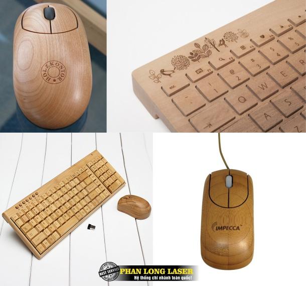 Địa chỉ khắc tên lên chuột gỗ và bàn phím gỗ theo yêu cầu