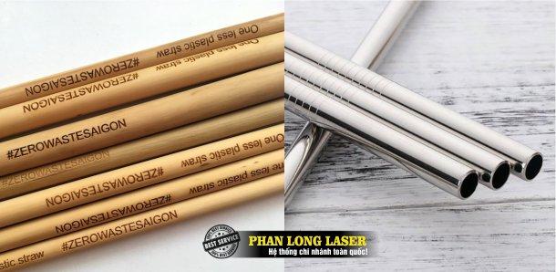 Khắc logo, khắc chữ khắc tên, in khắc laser lên ống hút tre nứa, ống hút gỗ, ống hút nhựa