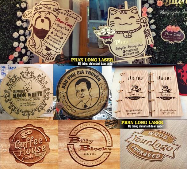 Địa chỉ khắc hình ảnh, khắc logo hoa văn, khắc laser lên menu gỗ, khắc biển bảng quảng cáo bằng gỗ