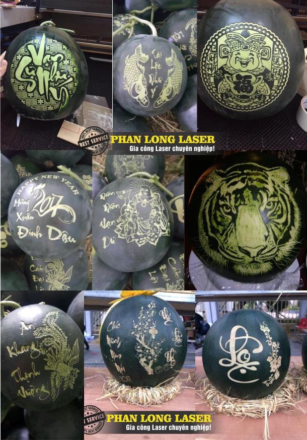 Khắc chữ khắc tên, khắc laser theo yêu cầu lên trái cây Dưa Hấu