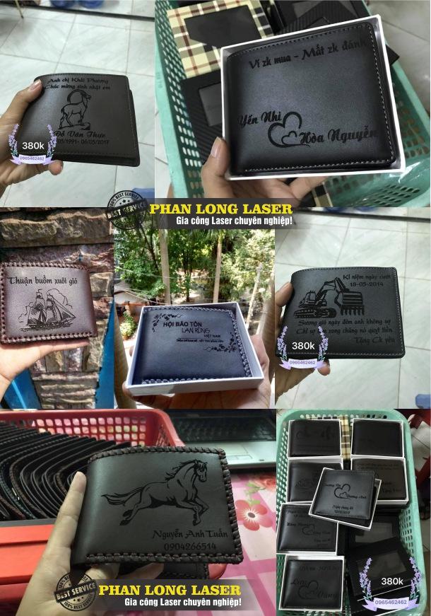 Khắc chữ khắc tên, khắc logo hoa văn lên ví da, bóp da theo yêu cầu bằng máy laser