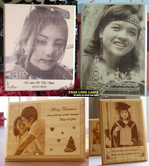 Khắc Lazer hình ảnh chân dung lên gỗ sồi tại Hà Nội và Đà Nẵng