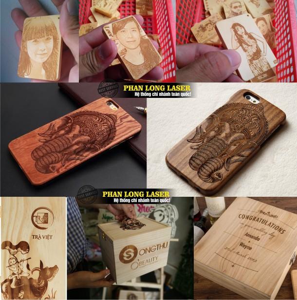 Địa chỉ khắc logo hoa văn, khắc hình ảnh chân dung lên móc khóa gỗ, vỏ điện thoại gỗ, hộp gỗ hộp rượu hộp trà gỗ