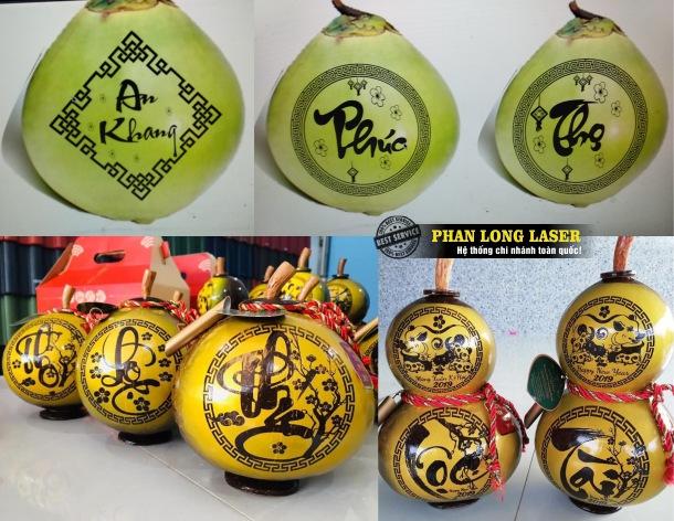 Khắc chữ thư pháp lên trái dừa, quả dừa và khắc thư pháp lên quả bầu, quả bí tạo hình hồ lô