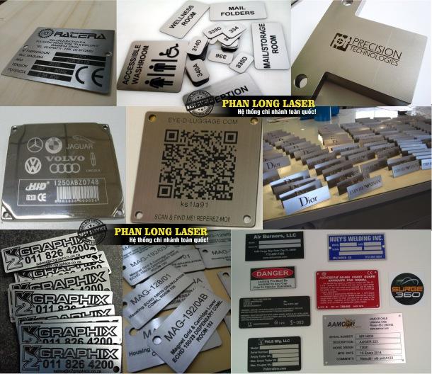 Khắc laser theo yêu cầu lên tem nhãn mác bằng đồng nhôm sắt thép giá rẻ