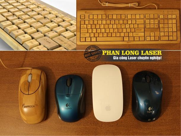 Khắc laser theo yêu cầu lên chuột gỗ, bàn phím gỗ, bàn phím bằng tre giá rẻ