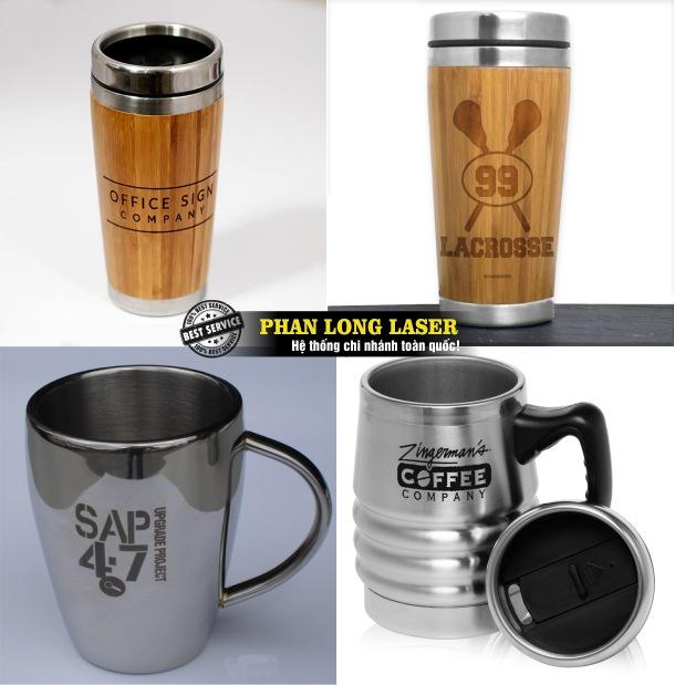 Địa chỉ khắc laser theo yêu cầu lên ly cốc ốp gỗ, ly cốc kim loại giá rẻ uy tín