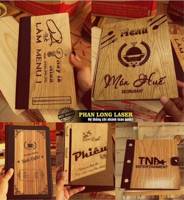 Địa chỉ cơ sở chuyên nhận khắc logo hoa văn, khắc chữ khắc tên, khắc nội dung lên menu bằng gỗ giá rẻ