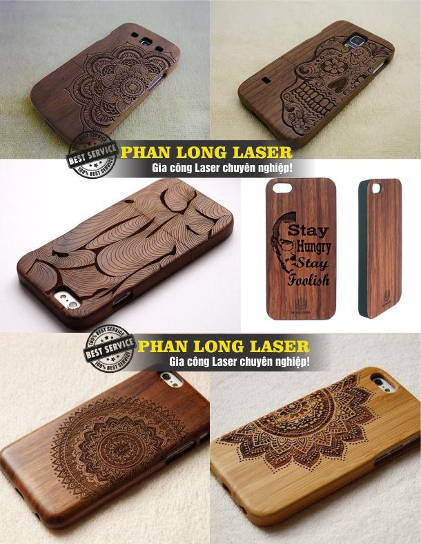 Khắc logo theo yêu cầu lên ốp lưng điện thoại bằng gỗ giá rẻ