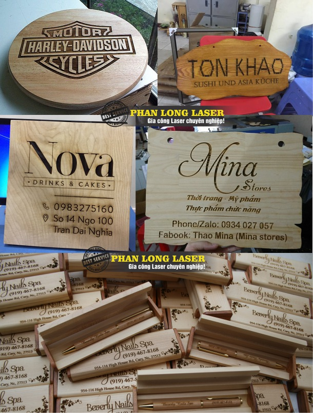 Khắc laser lên hộp bút gỗ, khắc biển bảng quảng cáo bằng gỗ theo yêu cầu