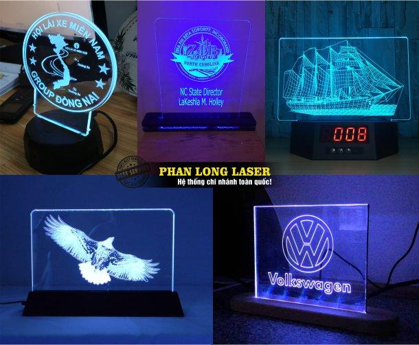 Địa chỉ cơ sở nhận thiết kế làm biểu trưng nhựa acrylic, kỷ niệm chương mica chiếu đèn led 7 màu