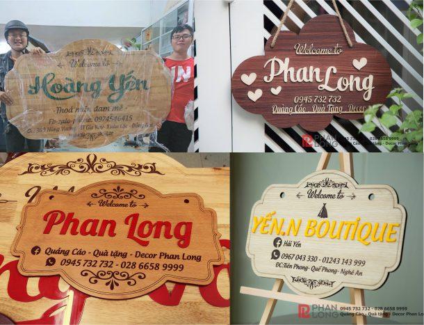 Biển gỗ, bảng gỗ có thể dùng làm biển bảng quảng cáo treo tường, biển gỗ thương hiệu, bảng gỗ tên shop khá hiệu quả