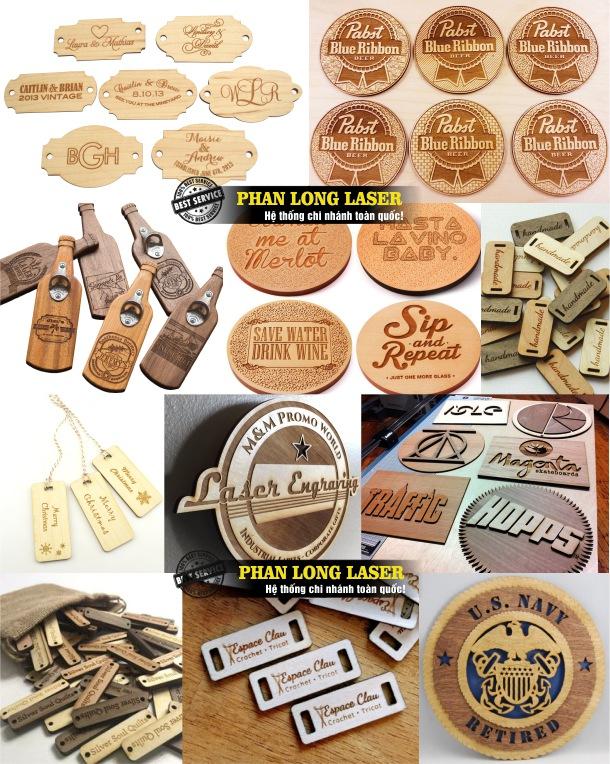 Sản xuất làm tem nhãn mác theo yêu cầu bằng gỗ khắc laser lấy liền giá rẻ