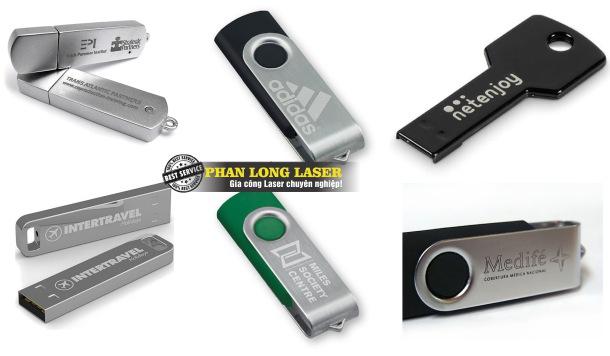 USB khắc chữ khắc logo bằng máy laser theo yêu cầu